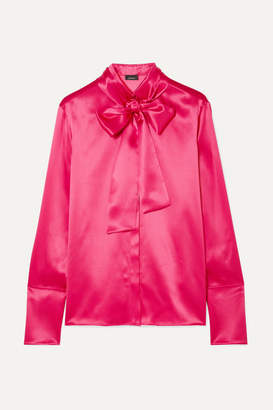 Akris Pussy-bow Mulberry Silk-satin Blouse - Bright pink