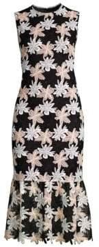 Shoshanna Women's Joliet Flounce Sheath Dress - Jet Black Multi - Size 10