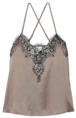 CAMI NYC The Gisele Metallic Lace-trimmed Silk-charmeuse Camisole - Taupe