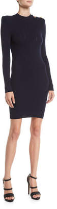 Balmain Button-Shoulder Long-Sleeve Ribbed Body-Con Short Cocktail Dress