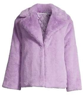 Alice + Olivia Women's Thora Oversize Faux Fur Coat - Lavender - Size Large