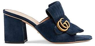 Gucci Women's Marmont Suede Mules - Navy