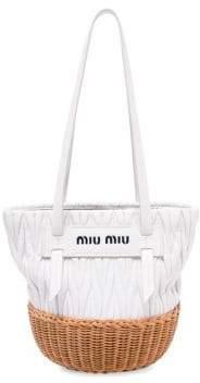 Miu Miu Women's Textured Leather Basket Bag - White