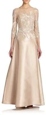 Teri Jon by Rickie Freeman by Rickie Freeman Women's Bead Top Satin Gown - Sapphire - Size 2