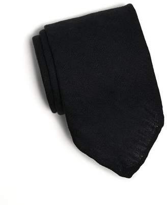 Drakes Drake's Solid Linen Herringbone Tie in Navy