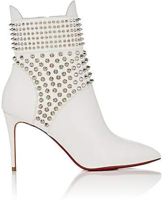 Christian Louboutin Women's Spiked Leather Ankle Boots - Snow, Silver