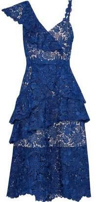 Alice + Olivia Florrie Ruffled Guipure Lace Midi Dress