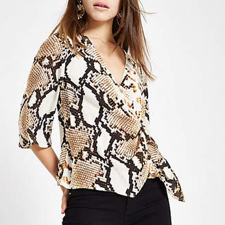 River Island Petite beige snake print wrap buckle blouse