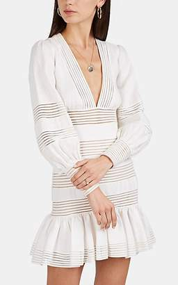 Zimmermann Women's Linear Crochet-Inset Linen Dress - White