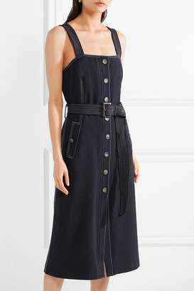 Veronica Beard Adora Belted Crepe Midi Dress - Navy