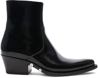 Calvin Klein Leather Short Western Boots in Black | FWRD