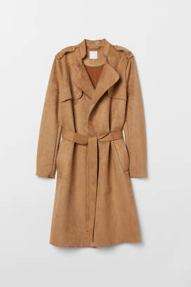 H&M Faux Suede Trenchcoat - Beige