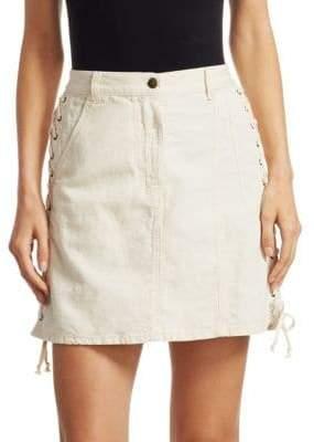 McQ Women's Lace-Up Mini Skirt - Washed White - Size 25 (2)