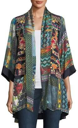 Johnny Was Plus Size Koben Canvas Embroidered Twill Kimono