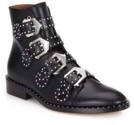 Givenchy Women's Studded Leather Buckled Ankle Boots - Black - Size 35 (5)