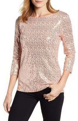Gibson x Glam Squad Megan Sequin Embellished Scoop Back Top