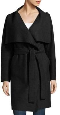 Harris Wharf London Women's Wool Volcano Wrap Coat - Black - Size 38 (2)