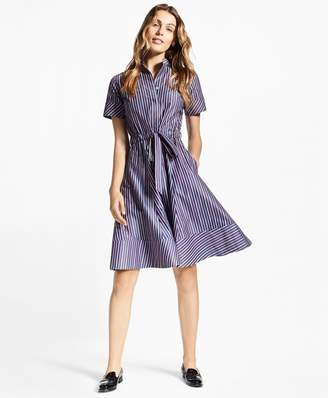 Brooks Brothers Petite Striped Cotton Poplin Shirt Dress