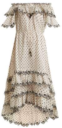 Zimmermann Jaya Off The Shoulder Linen Dress - Womens - Cream Multi