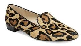 Sam Edelman Jordy Leopard Print Calf Hair Smoking Slippers