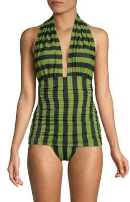 Norma Kamali Women's Bill Halterneck One-Piece Swimsuit - Olive - Size XS