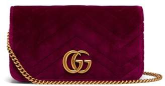 Gucci Marmont Gg Velvet Mini Cross Body Bag - Womens - Purple