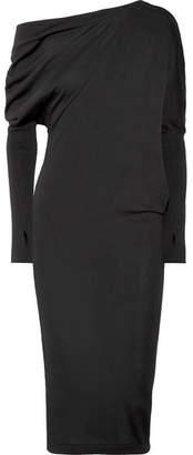 Tom Ford One-shoulder Cashmere And Silk-blend Dress - Black