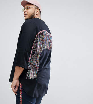 Asos Design DESIGN Plus festival regular fit longline shirt with tassles