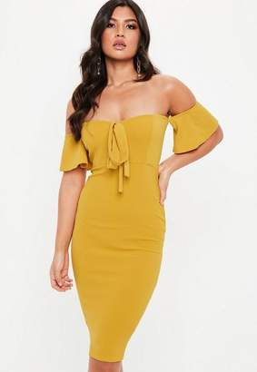 Missguided Mustard Yellow Tie Front Bardot Midi Dress
