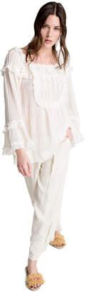 Max Studio linen and cotton ruffled tunic