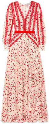 Self-Portrait Crescent Guipure Lace-trimmed Pleated Printed Chiffon Maxi Dress - Red