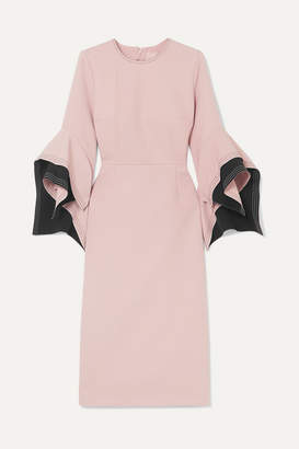 Roksanda Ruffled Two-tone Cady Midi Dress - Pink