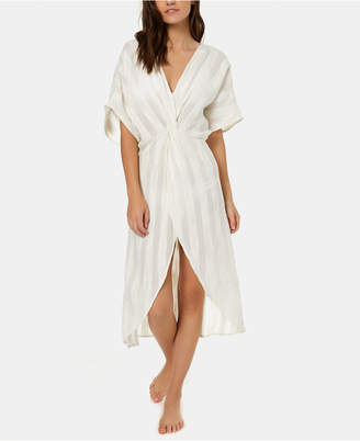 O'Neill Juniors' Edie Cotton Textured-Stripes Kimono Cover-Up Women Swimsuit
