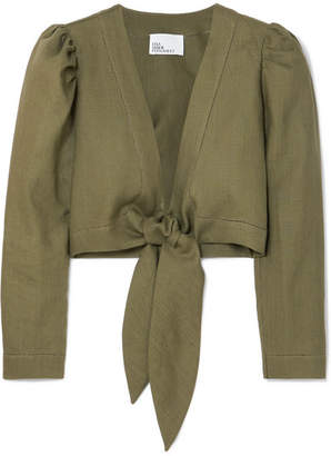 Lisa Marie Fernandez Cropped Tie-front Linen Top - Army green