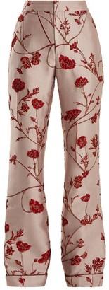 Johanna Ortiz Jancita High Rise Flared Brocade Trousers - Womens - Pink Red