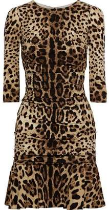 Dolce & Gabbana Ruched Leopard-Print Stretch-Silk Jersey Mini Dress