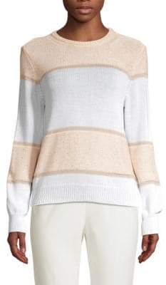Peserico Women's Striped Sequin Crewneck Sweater - Pink Colorblock - Size 50 (14)