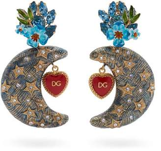 Dolce & Gabbana Crystal Embellished Moon Charm Clip On Earrings - Womens - Blue
