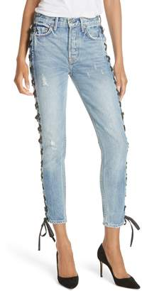GRLFRND Karolina High Waist Lace-Up Crop Skinny Jeans