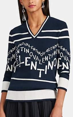 Valentino Women's Logo-Intarsia Wool-Cashmere V-Neck Sweater - Navy