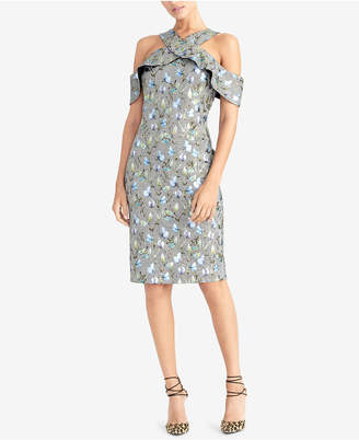 Rachel Roy Metallic Floral Plaid Ruffled Dress