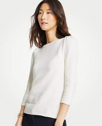 Ann Taylor Puff Sleeve Boatneck Sweater