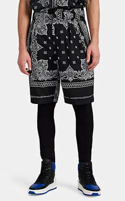 Sacai Men's Belted Bandanna-Print Pleated Shorts - Black