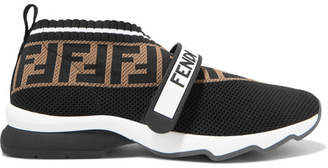 Fendi Rockoko Logo-jacquard Stretch-knit And Mesh Slip-on Sneakers - Black