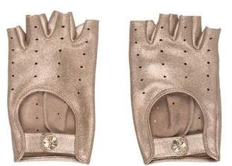 Chanel Perforated Fingerless Camellia Gloves