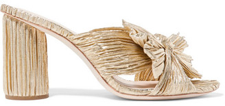Loeffler Randall Penny Bow-detailed Plissé-lamé Mules - Gold