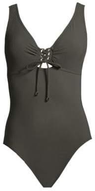 Karla Colletto Swim Swim Women's One-Piece Lace-Up Swimsuit - Navy - Size 12