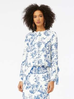 Oscar de la Renta Floral Toile Textured Cotton Jacket
