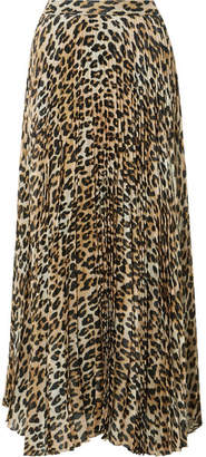Alice + Olivia Alice Olivia - Katz Pleated Metallic Leopard-print Silk-blend Gauze Maxi Skirt - Brown