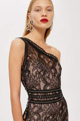 Topshop One Shoulder Lace Bodycon Dress